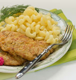Pork Chops with elbow macaroni Stock Image
