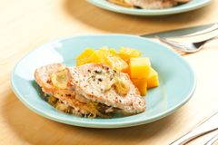 Pork chops with fall vegetables Stock Photos