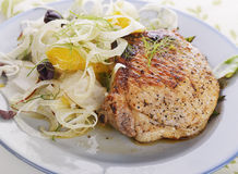 Pork Chops with Fennel Salad Royalty Free Stock Photos