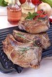 Pork chops. Fresh fried pork chops and vegetables Royalty Free Stock Images