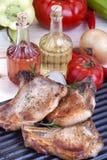 Pork chops. Fresh fried pork chops and vegetables Stock Photo