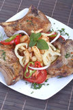 Pork chops. Fresh fried pork chops and vegetables Royalty Free Stock Photos