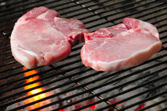 Pork chops on grill Royalty Free Stock Photos