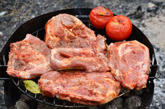 Pork chops on grill. Close-up image with some appetizing hunks of pork chop, dipped in sauce and condiments, cooked on grill together with a couple of tomatoes stock image