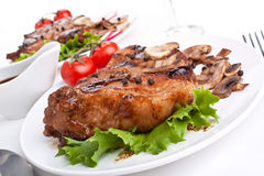 Pork Chops with Mushrooms Stock Photos