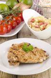 Pork chops with noodle salad Stock Photography