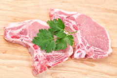 Pork Chops and Parsley Royalty Free Stock Photos
