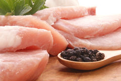 Pork chops and pepper Stock Photos