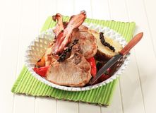Pork chops with  potato and red peppers Royalty Free Stock Image