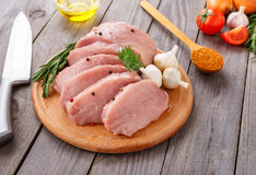 Pork chops ready to cook Royalty Free Stock Images