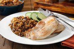 Pork chops and rice stock image