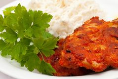 Pork chops with spices Royalty Free Stock Images