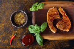 Pork chops with spices stock image