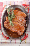 Pork chops with sweet chili sauce Stock Image