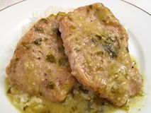 Pork Chops in Tomatillo Sauce Stock Photo