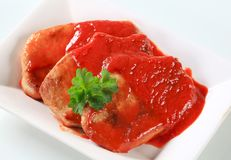 Pork chops with tomato sauce Royalty Free Stock Photos