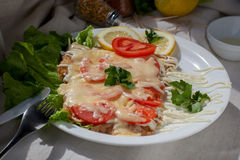 Pork Chops with tomato. Tasty Grilled pork chop with vegetables and cheese Stock Photography