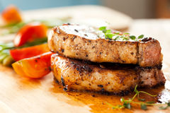 Pork chops with vegetable Stock Photography