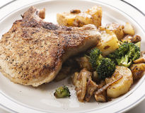 Pork chops with vegetables Stock Photo