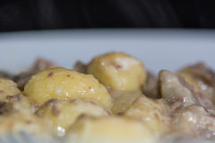 Pork and cider stew (Porc Normand) with gnocci Royalty Free Stock Images