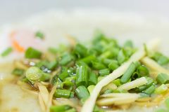 Pork congee. Finely sliced spring onions sprinkled on pork congee Stock Images