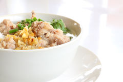 Pork congee and fried garlic Royalty Free Stock Photo
