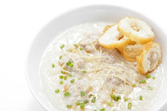 Pork congee with slice deep fried doughstick stock photo