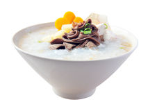 Pork congee with taro, carrot, spring onion Stock Photography