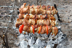 Pork cooked on the grill. Meat cooked on the coals. Pork being prepared fire. Pork kebab. Meat with onions and vegetables. Royalty Free Stock Photography
