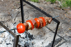 Pork cooked on the grill. Meat cooked on the coals. Pork being prepared fire. Pork kebab. Meat with onions and vegetables. Royalty Free Stock Photo