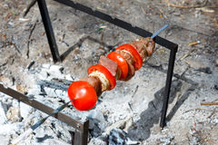 Pork cooked on the grill. Meat cooked on the coals. Pork being prepared fire. Pork kebab. Meat with onions and vegetables Royalty Free Stock Image