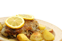 Pork cooked with oven potatoes Stock Photo