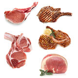 Pork Cooked and Uncooked Isolated on White. Various cuts of pork,, cooked and uncooked, isolated on white Royalty Free Stock Photos