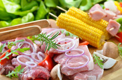 Pork with Corn on th Cob Stock Photos