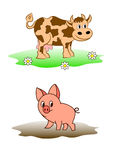 A cow and a pig walk on the nature and rejoice Royalty Free Stock Photos