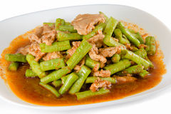 Pork curry spicy,Fried long beans Royalty Free Stock Images