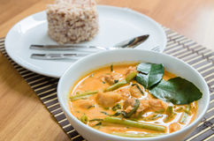 Pork curry with water spinach Stock Photos