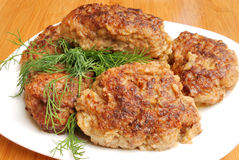 Pork cutlet. Some pork cutlet on a white plate Stock Images