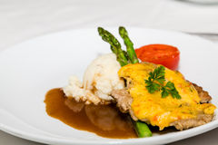 Pork Cutlet with Asparagus and Potatoes Stock Photo