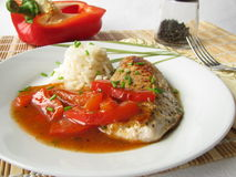 Pork cutlet with lecho Stock Photography
