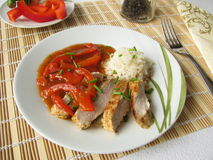 Pork cutlet with lecho Royalty Free Stock Photos