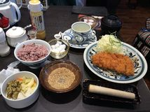 Pork cutlet meal (tonkatsu) Stock Images