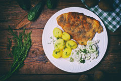 Pork cutlet with potatoes and cucumber salad Royalty Free Stock Photos