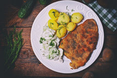 Pork cutlet with potatoes and cucumber salad stock photography