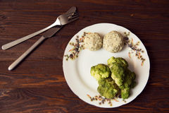 Pork cutlets with broccoli on the plate. Pork cutlets and broccoli prepered on a steam on the plate Royalty Free Stock Images