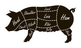 Pork cuts butcher diagram Royalty Free Stock Photos