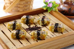 Pork dumpling (Shumai). Chinese snacks made from rice or wheat dough topped with pork Stock Photos