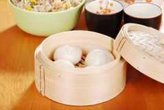 Pork dumplings in bamboo basket Royalty Free Stock Photo