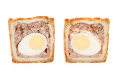 Pork and egg pie slices Stock Photo