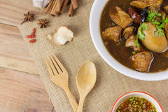 Pork and egg stewed in the gravy Stock Image